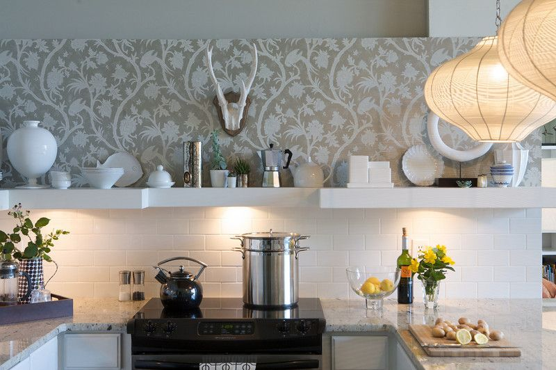 Vineyard Vines Wallpaper for a Contemporary Kitchen with a Jamie Young Lighting and Heather Garrett Design by Heather Garrett Design