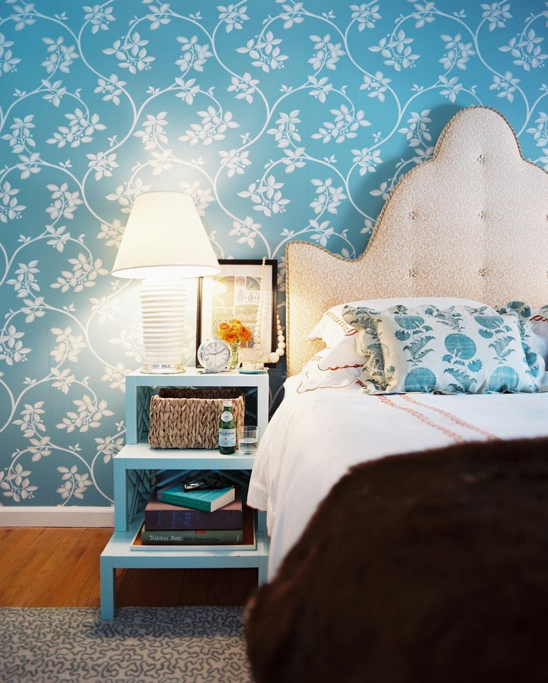 Vineyard Vines Wallpaper for a Shabby Chic Style Bedroom with a Blue Walls and Master Bedroom by Tilton Fenwick