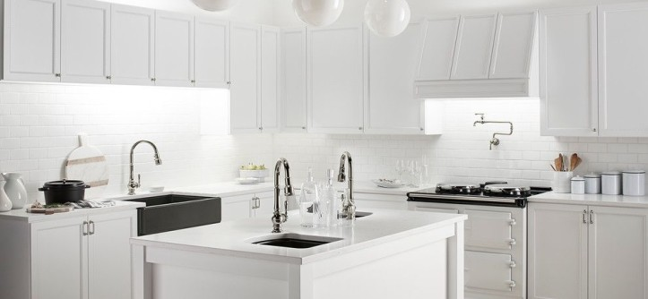 Vineyard Vines Wallpaper for a Traditional Kitchen with a Pendant Lights and Carefully Curated Kitchen by Kohler