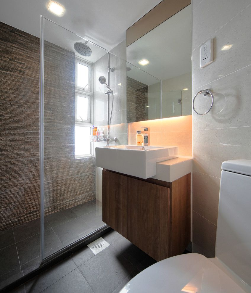 Vitreous China for a Contemporary Bathroom with a Windows and Pandan Valley Condo by the Interior Place (S) Pte Ltd