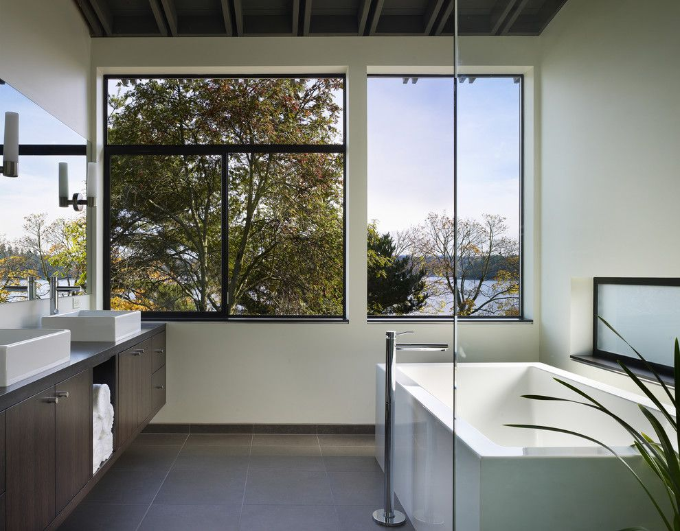Vitreous China for a Modern Bathroom with a View and Lake Washington Residence by Baan Design