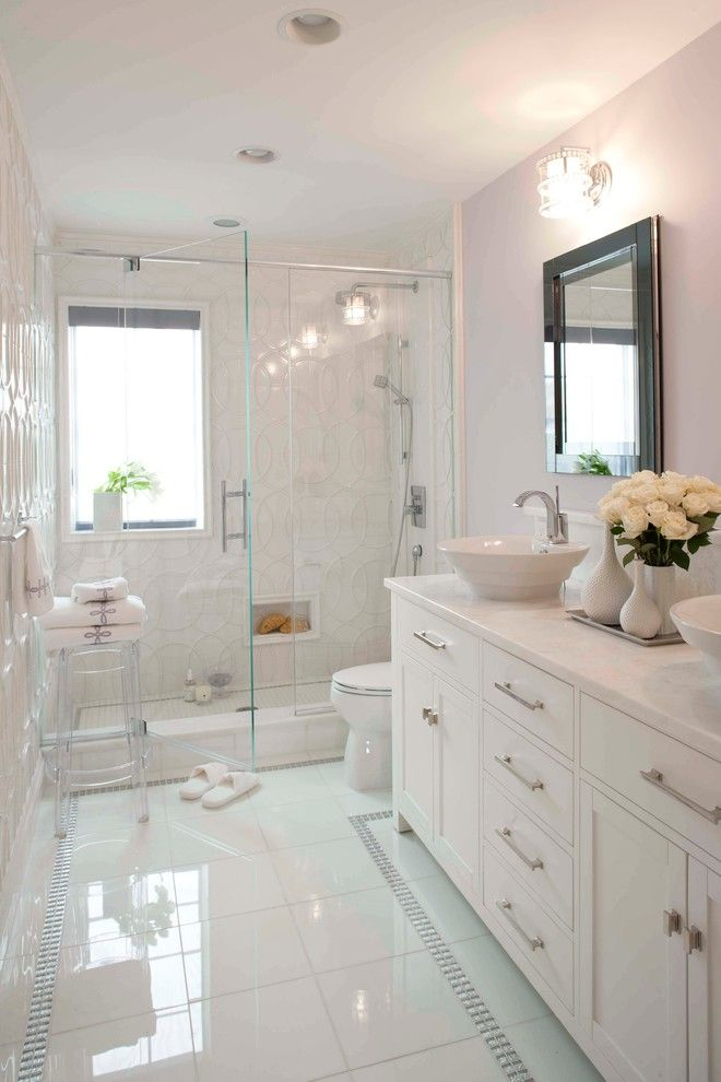 Vitreous China for a Transitional Bathroom with a White Countertop and Debra Funt Interiors by Debra Funt Interiors