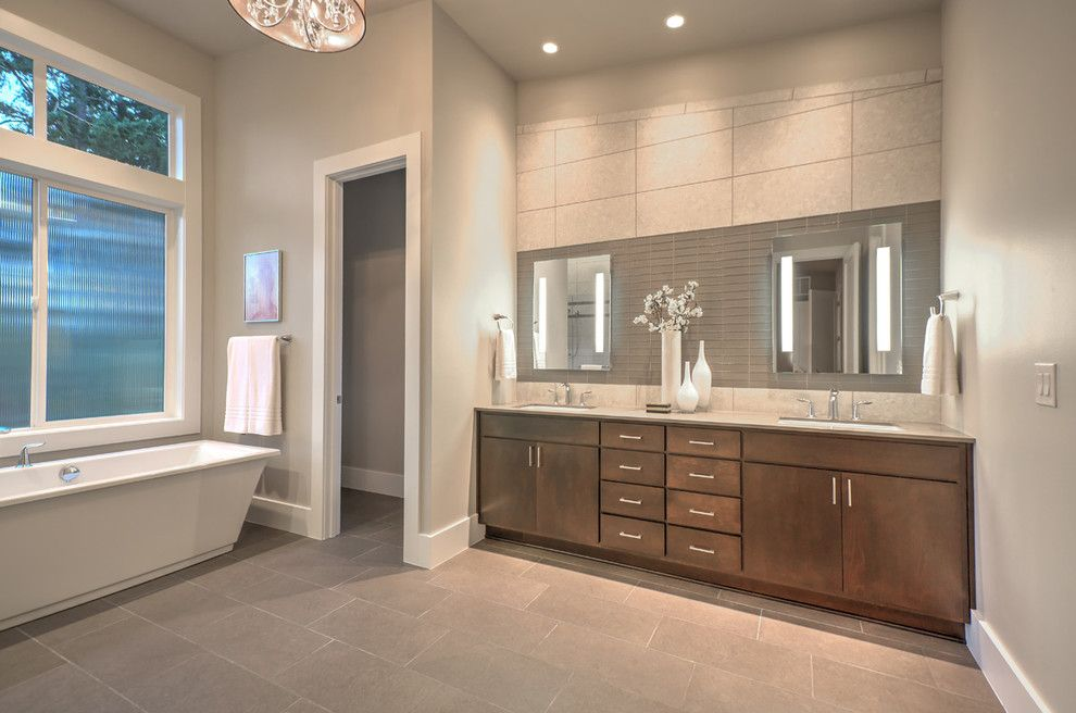 Voss Lighting for a Contemporary Bathroom with a Gray Walls and Greater Seattle Area | the Amsterdam Master Bathroom by Jaymarc Homes