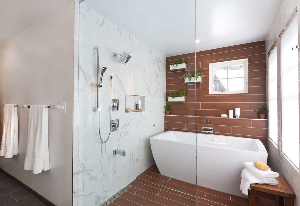 Voss Lighting for a Contemporary Bathroom with a Shower Bench and Nebraska Ave by Grossmueller's Design Consultants