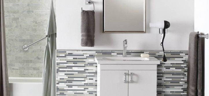 voss lighting for a contemporary bathroom with a matchstick tile - Matchstick Tile Castle 2016