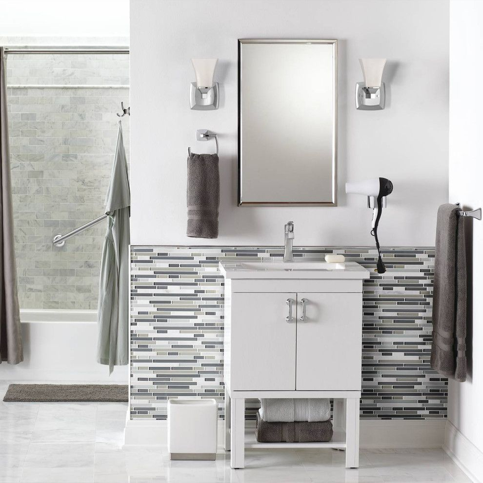 Voss Lighting for a Contemporary Bathroom with a Wall Sconces and Moen by Moen