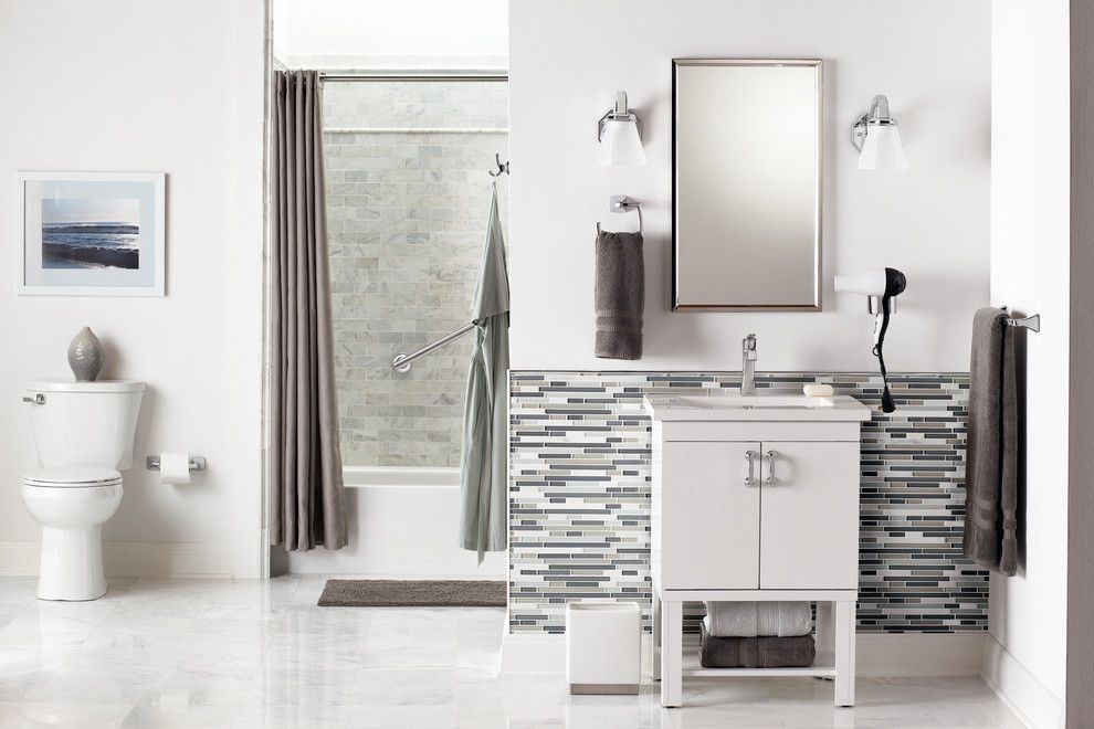 Voss Lighting for a Contemporary Bathroom with a White Bathroom and Modern White and Grey Bathroom by Moen