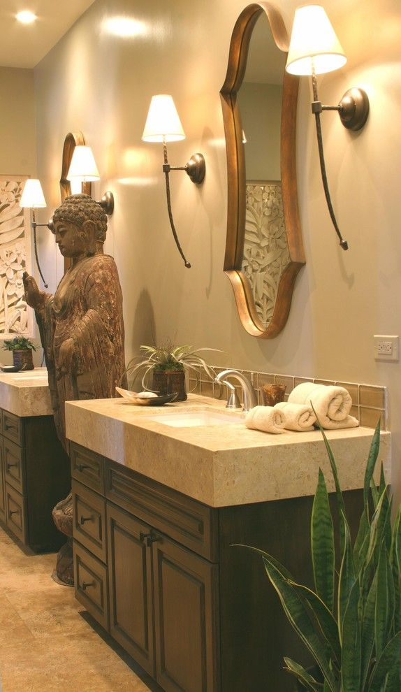 Voss Lighting for a Eclectic Bathroom with a Hand Painted Cabinets and Zen Space by Gayle Wainwright