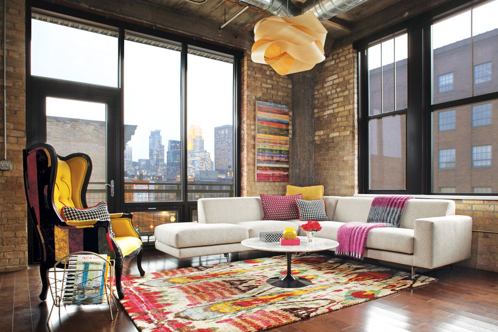 Voss Lighting for a Industrial Living Room with a City View and Harvester Lofts by Brooke Voss Design