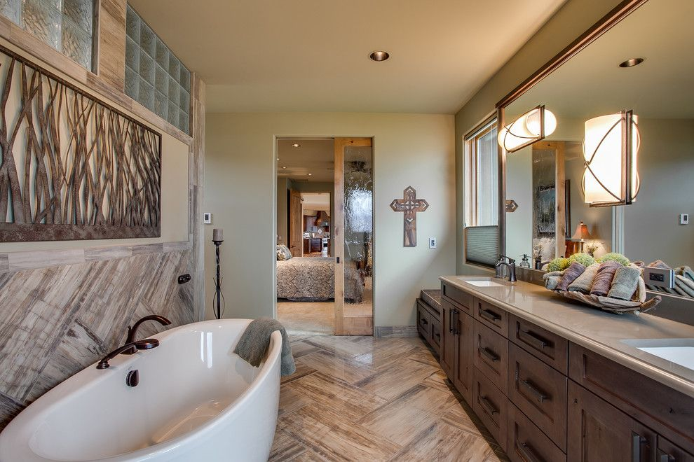 Voss Lighting for a Transitional Bathroom with a Wall Sconces and Se Falcon Dr. by Travis Knoop Photography