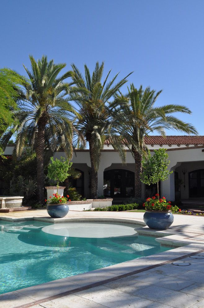 Wade Jurney Homes for a Mediterranean Pool with a Pool and Planters Frame Pool Entrance by Exteriors by Chad Robert