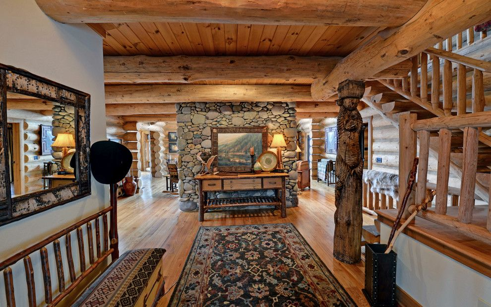 Wade Jurney Homes for a Traditional Hall with a Timber Walls and Lake Blue Ridge Custom Log Home by Envision Web