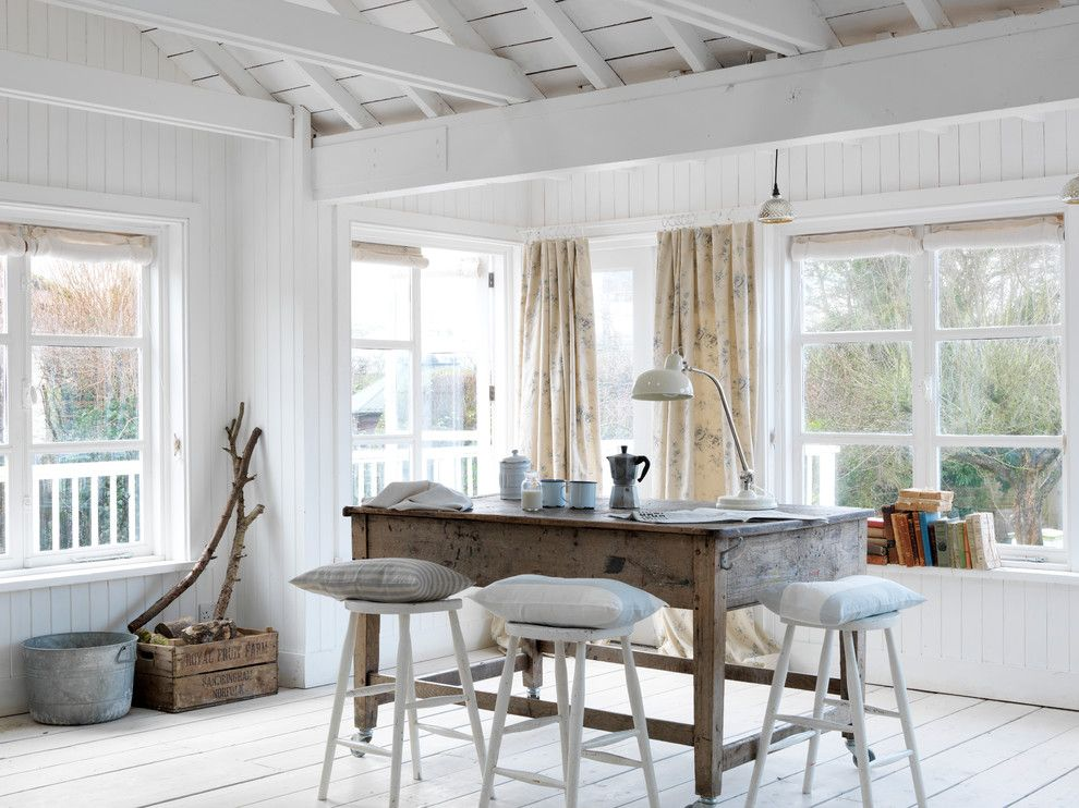 Waller Rustic Furniture for a Beach Style Dining Room with a Floral Curtains and Winchelsea Beach by Cabbages & Roses Ltd