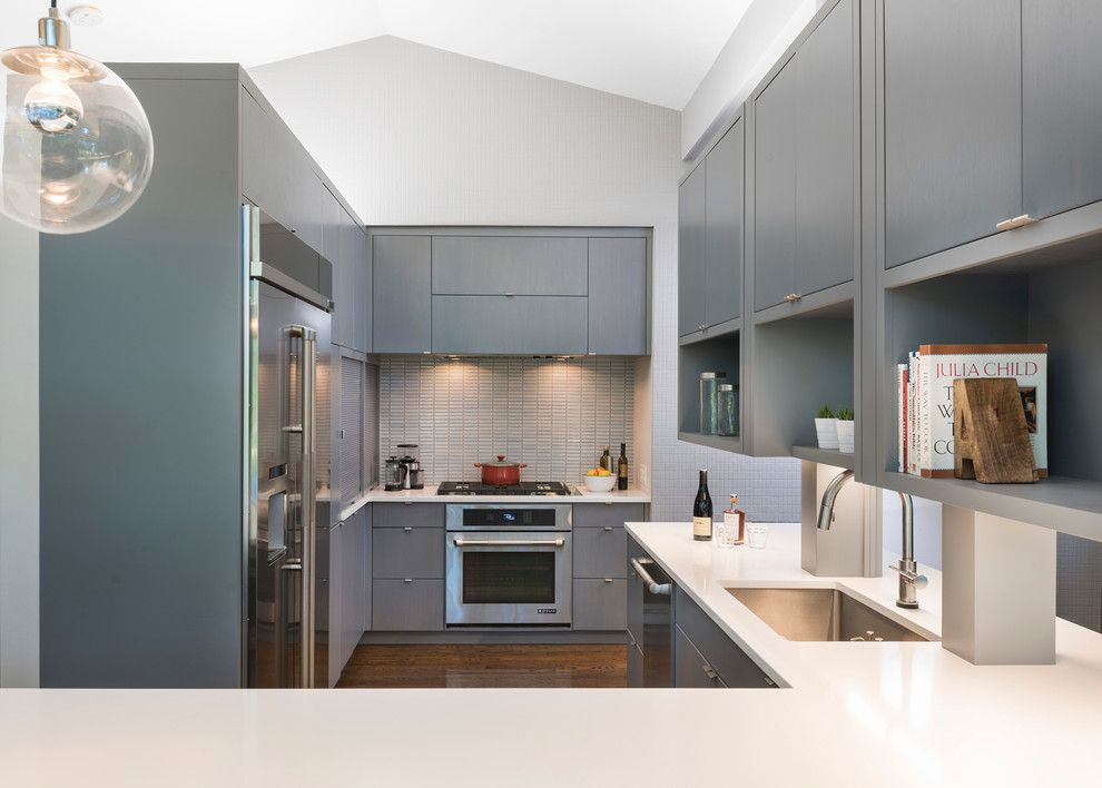 Walter Gropius for a Midcentury Kitchen with a Glass Wall and Mid Century Remodel on Tabor Hill by Flavin Architects