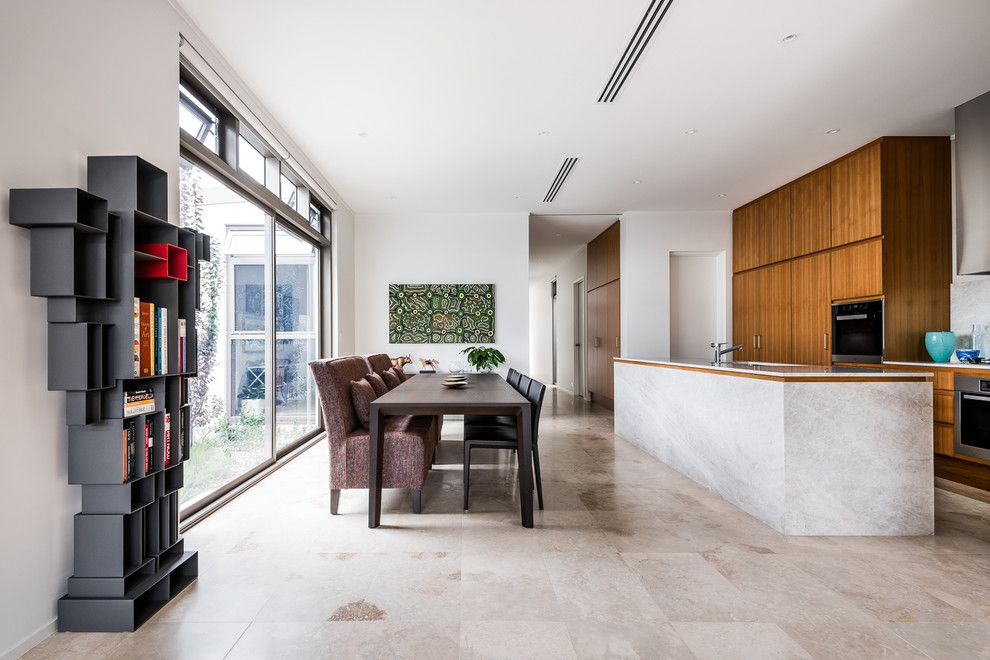 Walter Knoll for a Midcentury Dining Room with a Stone Tiles and House a by Sandy Anghie Design