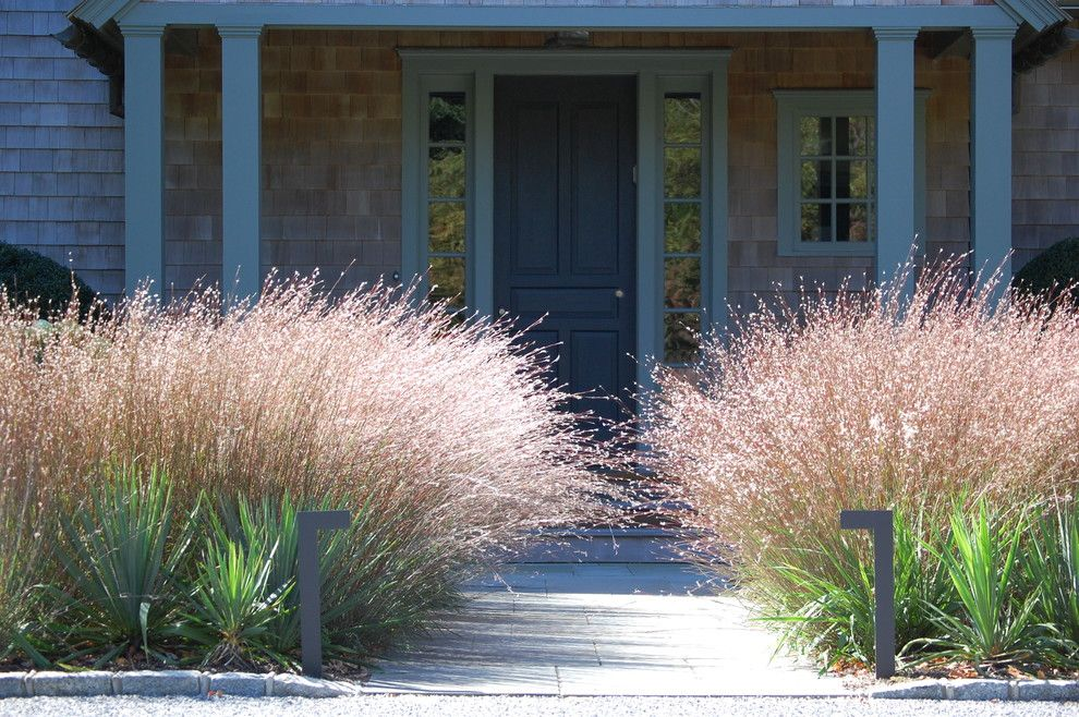 Warm Season Grasses for a Contemporary Landscape with a Bluestone and Plantings by Davis Landscape Design LLC