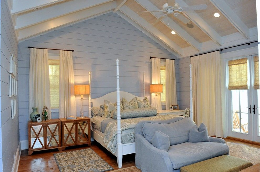Watercolors Florida for a Beach Style Bedroom with a Four Poster Bed and a Residence in Watercolor, Florida 2 by Christ & Associates, Architects & Planners