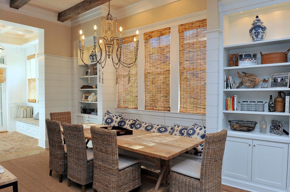 Watercolors Florida for a Beach Style Dining Room with a Chandelier and a Residence in Watercolor, Florida 2 by Christ & Associates, Architects & Planners