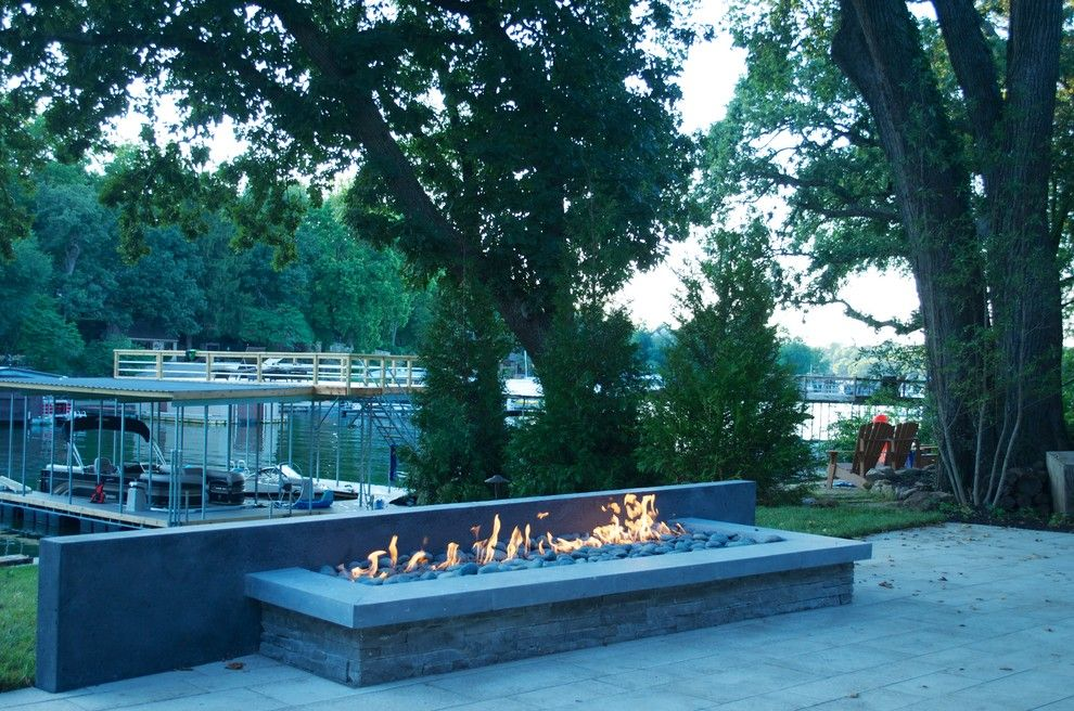 Waterscapes for a Modern Patio with a Modern Fire Pit and Modern Land & Waterscape by Michael Given Environments, Llc