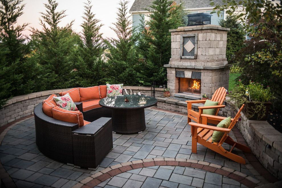 Waterscapes for a Traditional Patio with a Walkways and Warming Outdoor Fireplace & Fire Pit Retreats by Pittsburgh Stone & Waterscapes, Llc