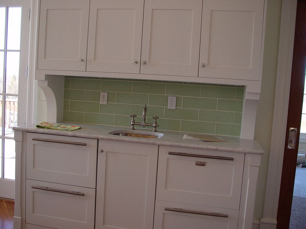 Waterworks Denver for a Traditional Kitchen with a Glass and Cut Glass Backsplash by Knapp Tile and Marble