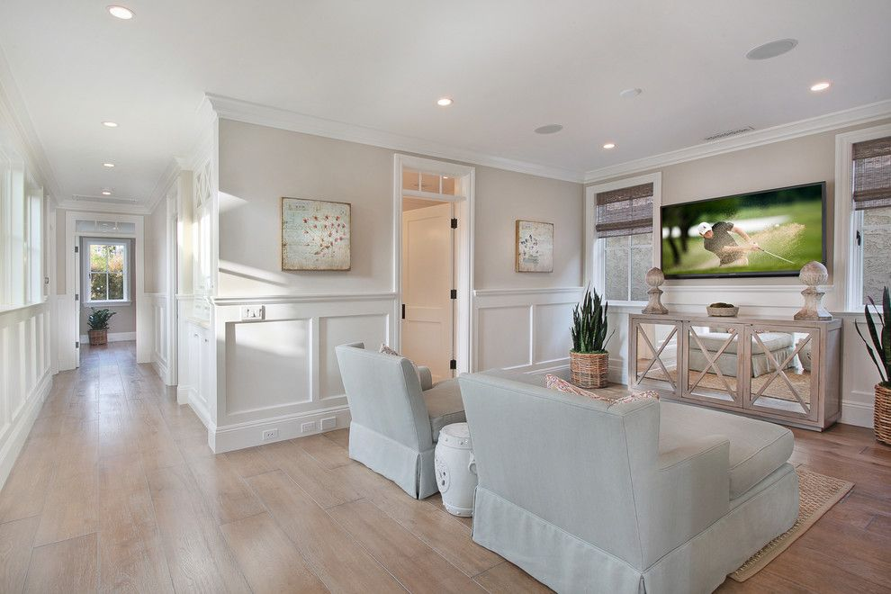 Weather Lakeside Ca for a Beach Style Family Room with a Wall Mount Tv and Bayshores Drive by Brandon Architects, Inc.