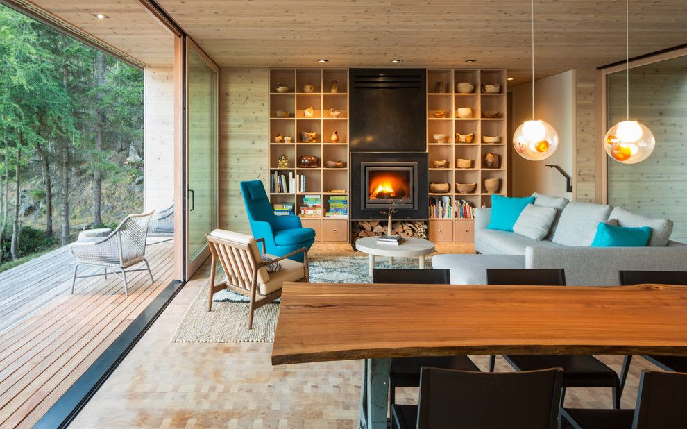 Weather Woodinville Wa for a Contemporary Living Room with a Deck and Lone Madrone Retreat by Heliotrope Architects