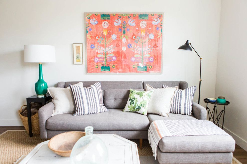 West Elm Chelsea for a Eclectic Living Room with a Sisal Rug and City Loft Apartment by Ashley Winn Design