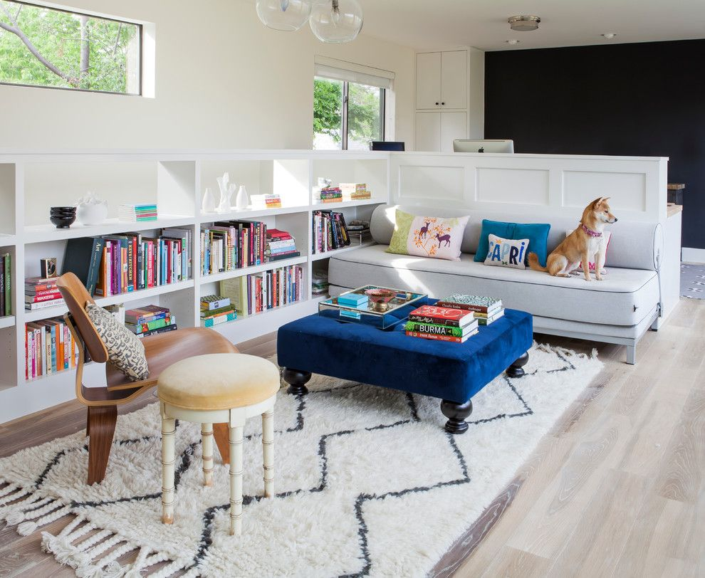 West Elm Chelsea for a Transitional Family Room with a Rug and Bouldin House by 9 Square Studio