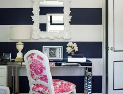 West Elm Chelsea for a Transitional Home Office with a Blue and White Stripes and Westchester Home by Gregory Shano Interiors