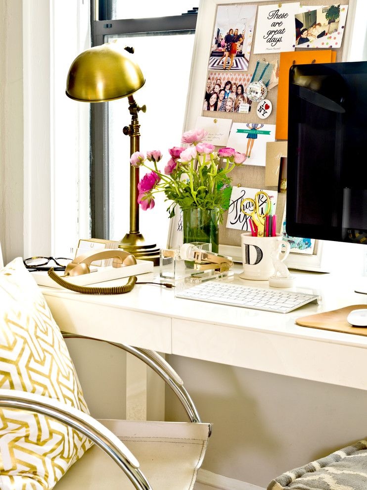 West Elm Emeryville for a Eclectic Home Office with a Imac and My Houzz: Pretty Meets Practical in a 1920s Walk Up by Cynthia Lynn Photography