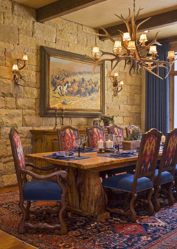 Westec for a Rustic Dining Room with a Oriental Rug and Dining Room 2 by Rick O'donnell Architect