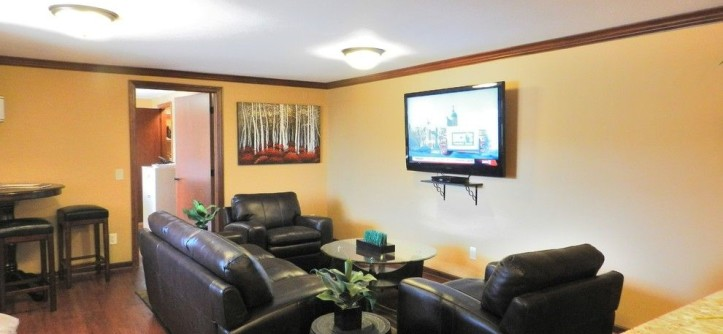 Westhaven Apartments for a Traditional Home Theater with a Traditional and Clubhouse- Westhaven Apartments- Madison, WI by Stephanie K Mader Designs, LLC