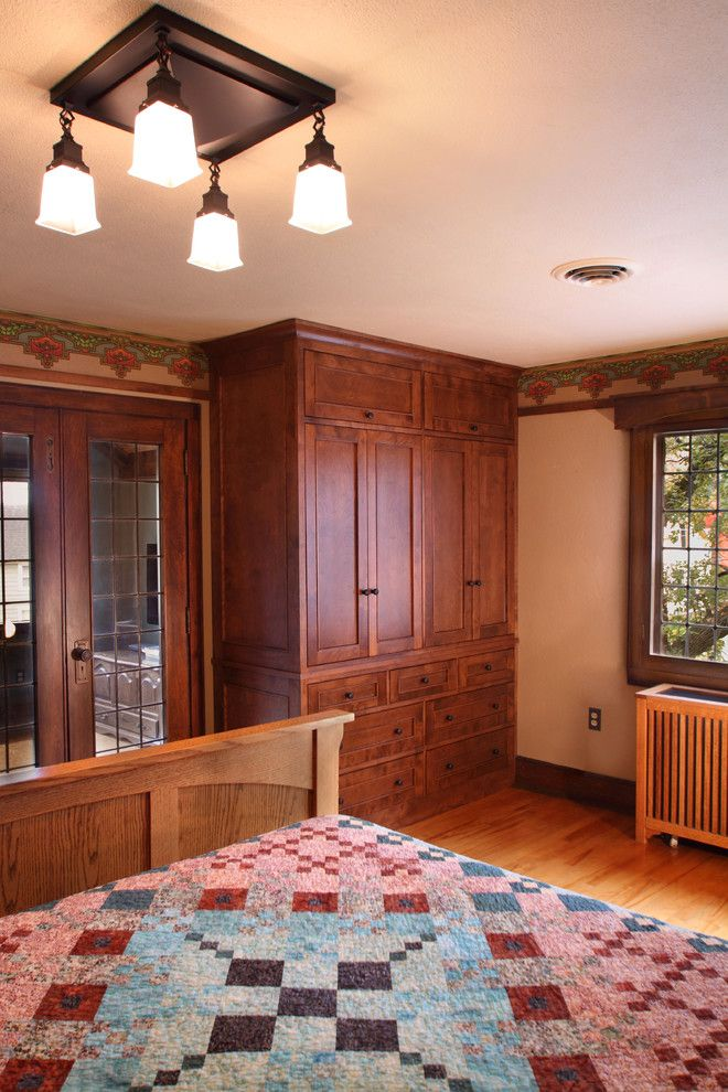 Westwind Homes for a Craftsman Bedroom with a Wood Window Valance and 1926 Elmslie Home Renovation by Westwind Woodworkers Inc.