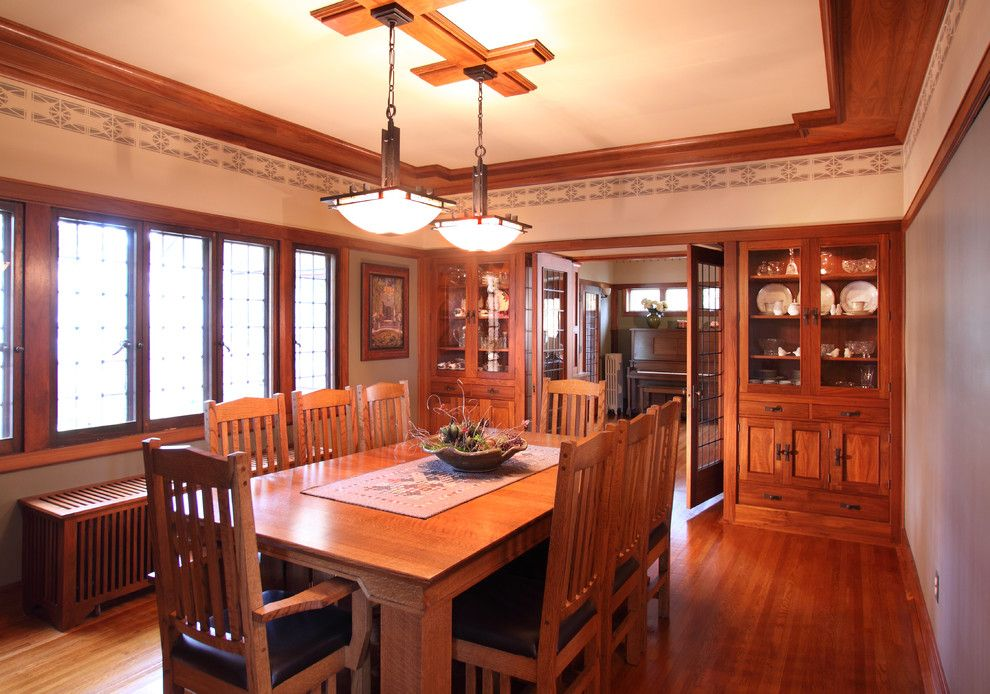 Westwind Homes for a Craftsman Dining Room with a Custom Light and 1926 Elmslie Home Renovation by Westwind Woodworkers Inc.
