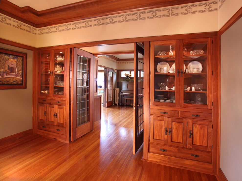 Westwind Homes for a Craftsman Dining Room with a Oak Floor and 1926 Elmslie Home Renovation by Westwind Woodworkers Inc.