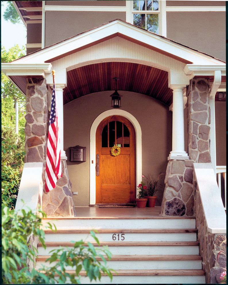 Westwind Homes for a Craftsman Entry with a Wood Front Door and Arts & Crafts Details by Morgante Wilson Architects