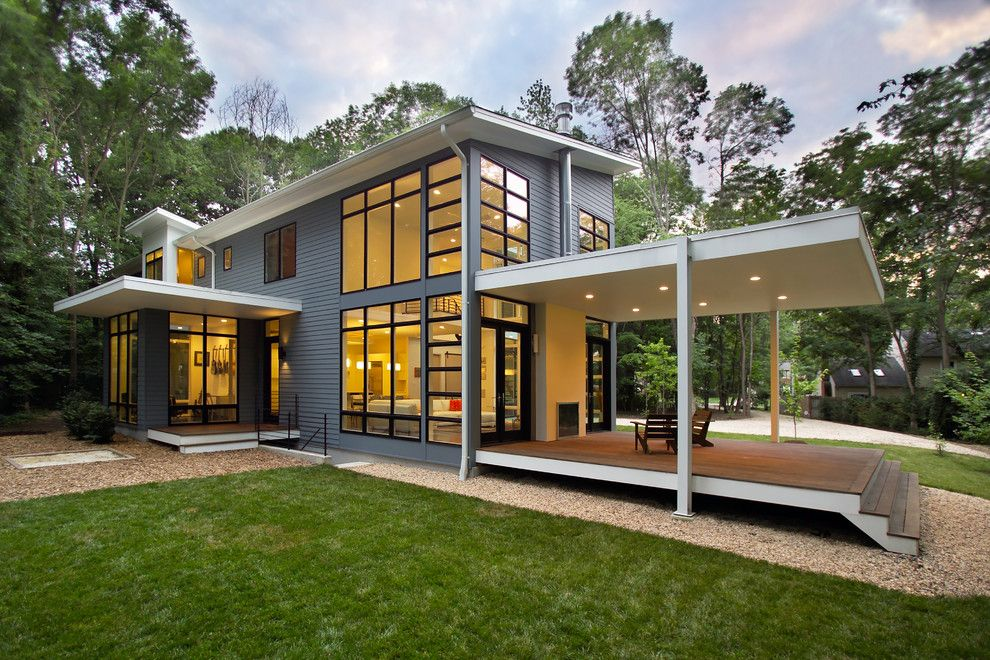 What is a Chiver for a Contemporary Exterior with a Lawn and Riverside Residence by Moore Architects, Pc
