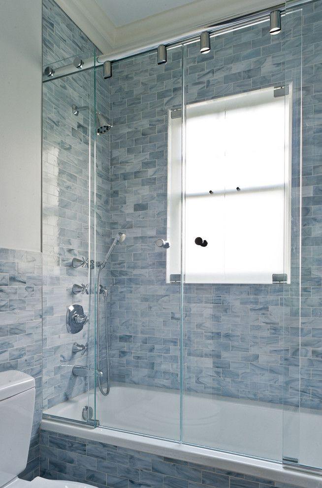 What is a Chiver for a Victorian Bathroom with a Blue Bathroom and Pelham Shingle Style for a Modern Family by Fivecat Studio   Architecture