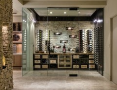 What is a Humidor for a Contemporary Wine Cellar with a Beige Color Wine Room and Custom Home Palm Desert-Indoor Outdoor Living by Blackbird Interiors