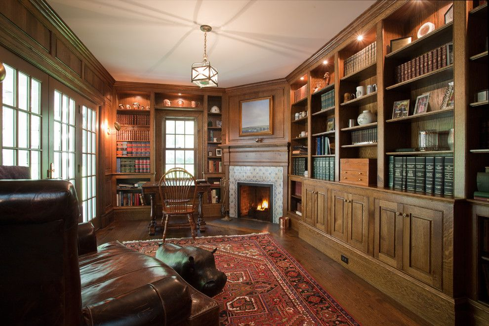 What is a Humidor for a Traditional Home Office with a Tudor and Country Villa by Doyle Coffin Architecture Llc
