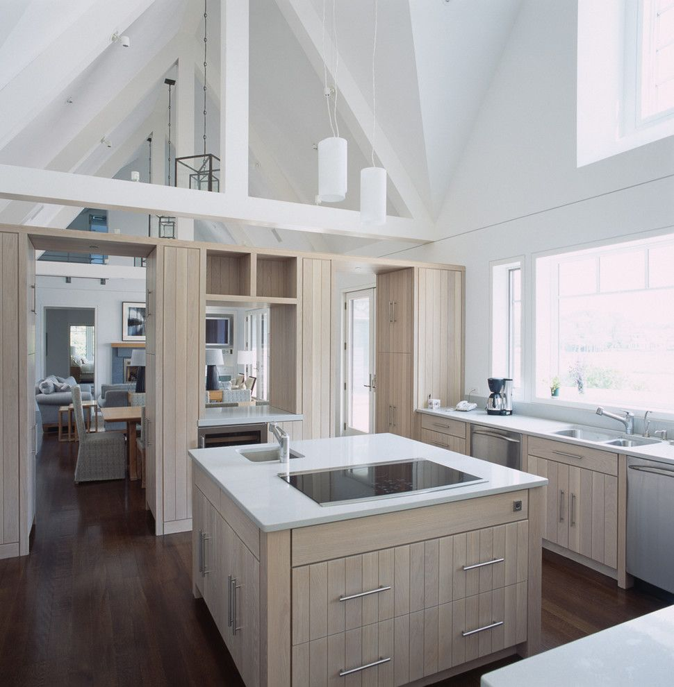 What is an Induction Cooktop for a Beach Style Kitchen with a Vaulted Ceilings and Riverfront Home by Linda Ashley Interior Decoration, Inc