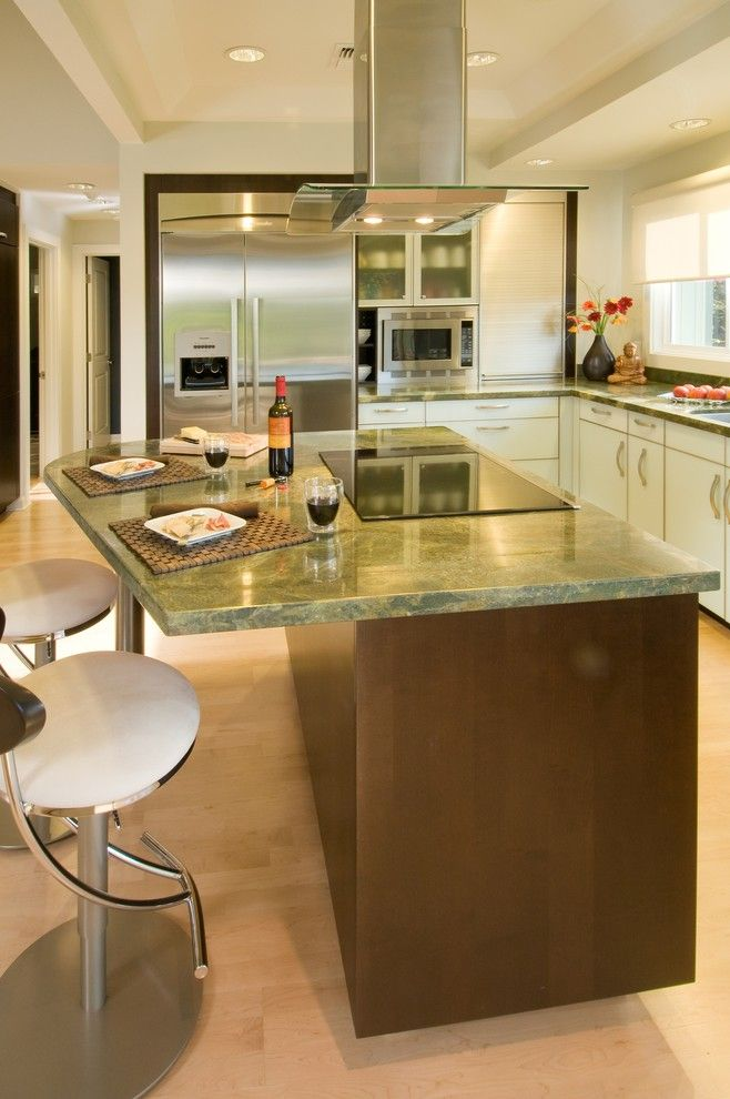 What is an Induction Cooktop for a Contemporary Kitchen with a White Cabinets and a Room with a View by Archipelago Hawaii Luxury Home Designs