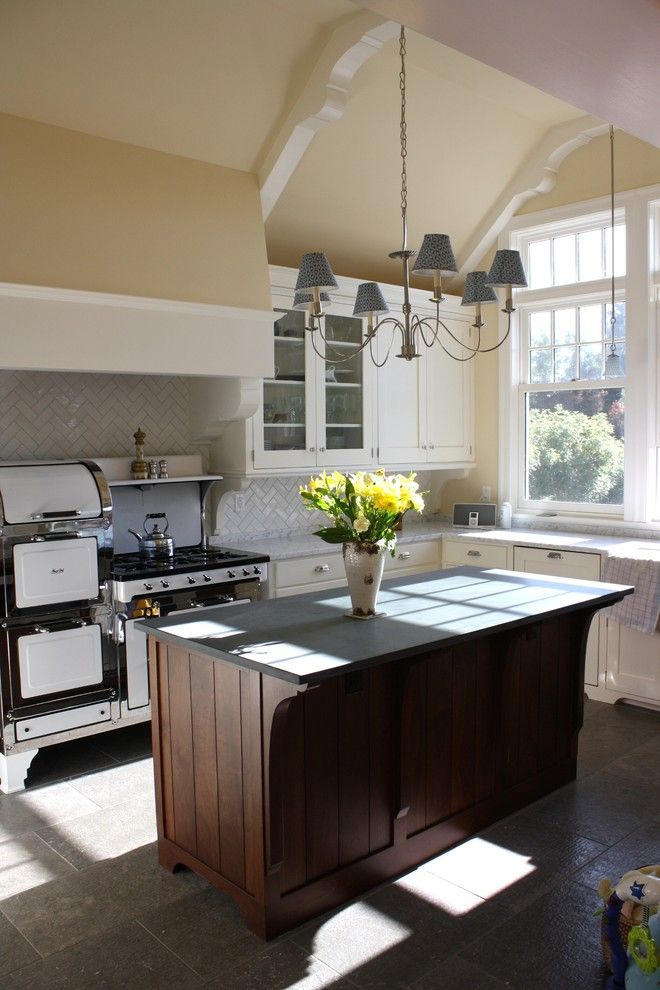 Whistling Kettle for a Industrial Kitchen with a Tile Floor and Kelly and Abramson Kitchens by Kelly and Abramson Architecture