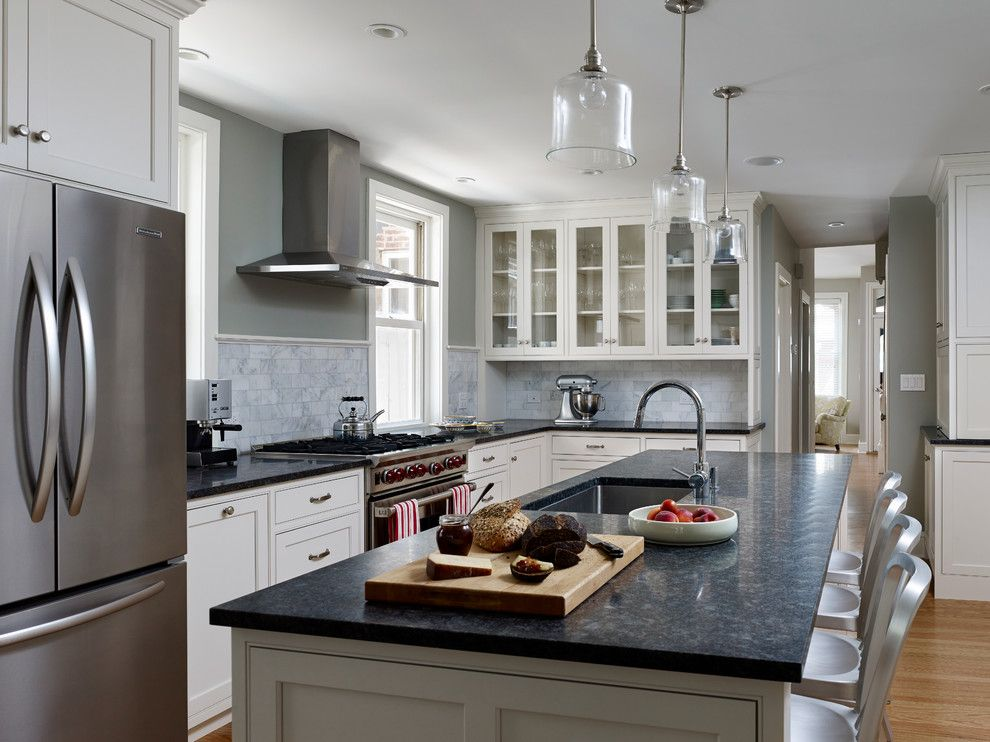 Whistling Kettle for a Traditional Kitchen with a Schoolhouse Electric Pendants and Fitler Square Renovation by Rasmussen / Su Architects