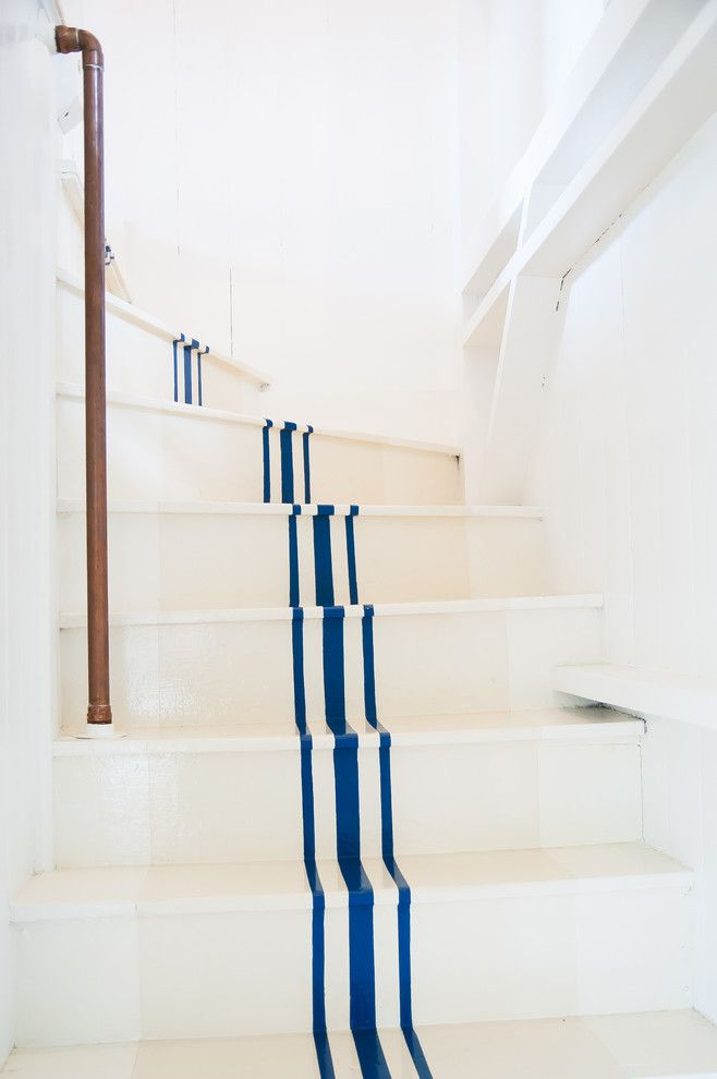 White Stallion Ranch for a Beach Style Staircase with a Curved Staircase and Southern CT Beach Home by Allee Architecture + Design, Llc