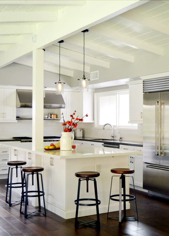 White Stallion Ranch for a Midcentury Kitchen with a White Ceiling Beams and Cottage Kitchen Remodel   Long Beach, Ca by Morey Remodeling Group