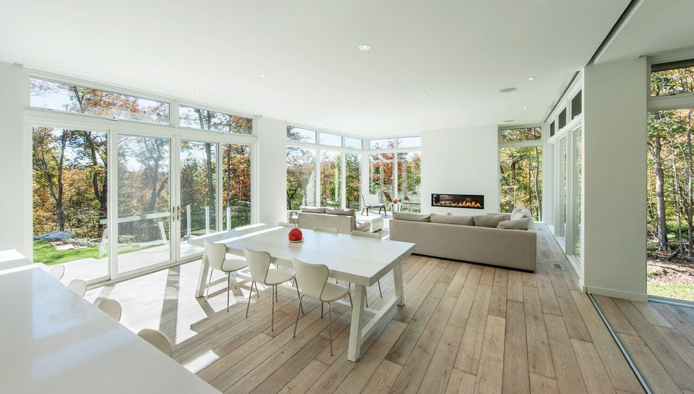White Stallion Ranch for a Modern Dining Room with a White Dining Chairs and Gatineau Hills by Marvin Windows and Doors