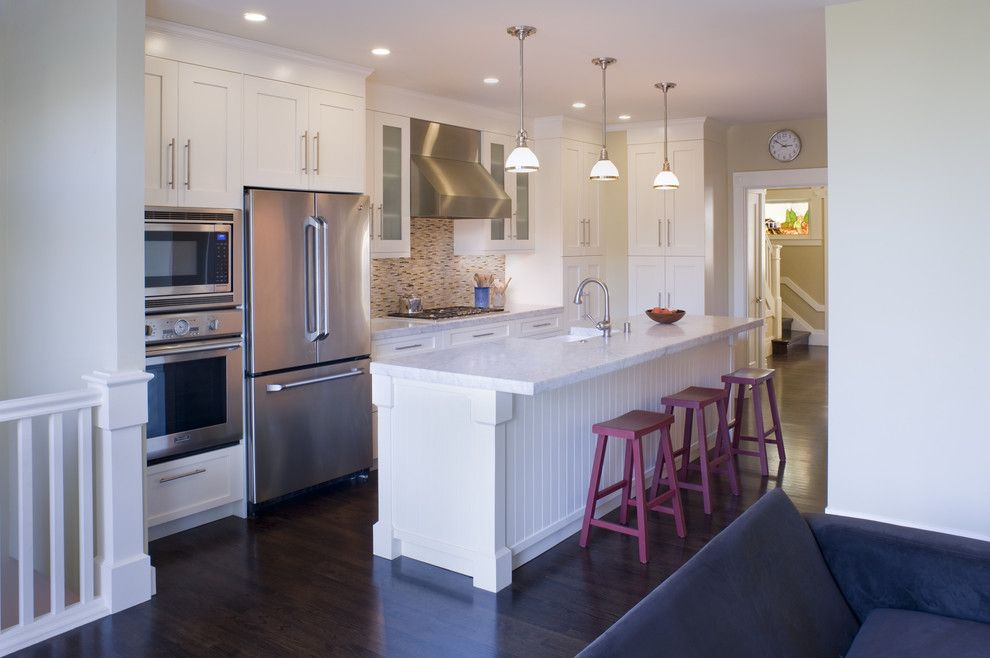 Who Makes Kenmore Appliances for a Contemporary Kitchen with a Great Room and Drew by John Lum Architecture, Inc. Aia