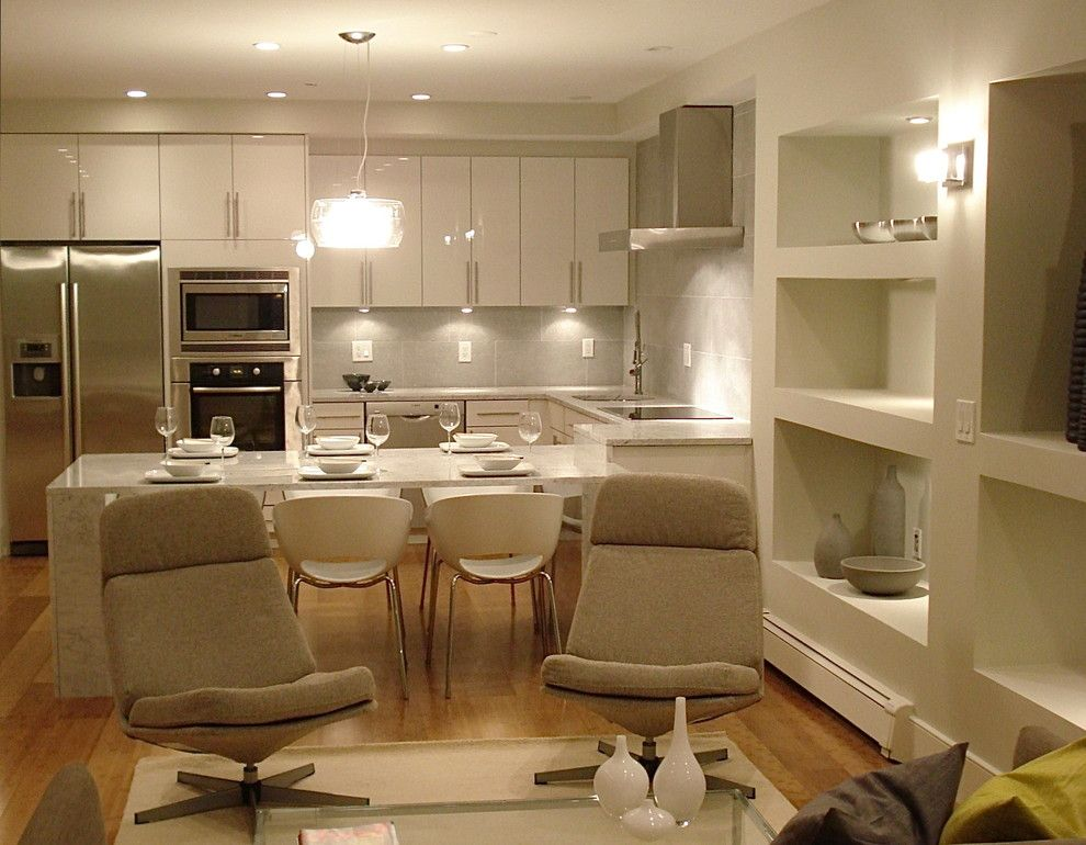 Who Makes Kenmore Appliances for a Contemporary Kitchen with a Kitchen Table and Kitchens by Melissa Miranda Interior Design
